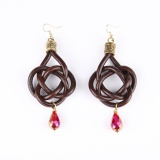 Twisted earrings with red crystal
